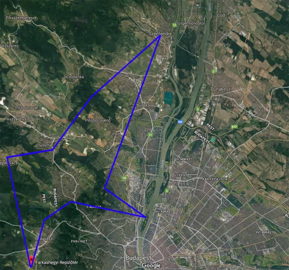 Szentendre sétarepülés útvonala