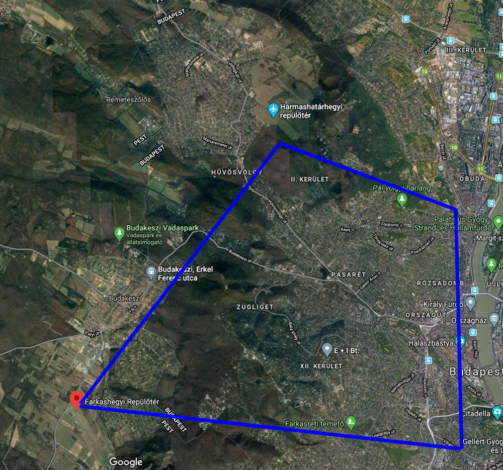 Sétarepülés a Budai hegyek fölött térkép