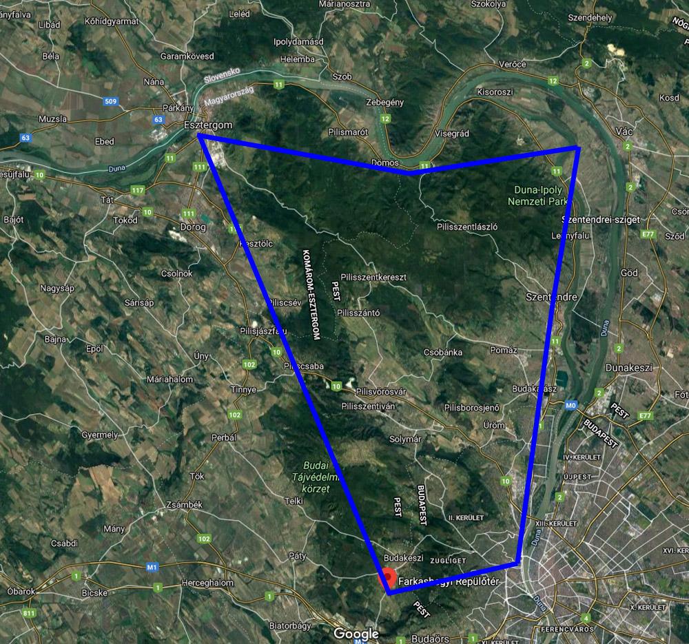 Dunakanyar sétarepülés útvonal
